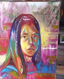 """Guest Author: Last night I wanted to work on this piece but I had to wait. This one is dedicated to all the residential school survivors. This is an Indigenous little girl, a free style that just came out from my hand and brush: she's beautiful, with an innocent look, tears in her eyes, a victim of pain and sorrow from the impact of the residential school. I call this one """"My name is not a number."""" How devastating it was when children were abducted from their homes and were named as numbers, imagine if it was your kid? It's sad. - Mr. Mario Peters, an artist from Pikangikum"""