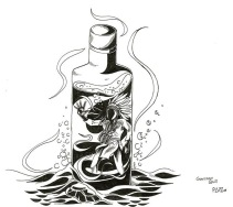"""My graphic design was named, """"Time in a bottle,"""" because it shows the desperation and isolation of a person suffering from alcohol addiction. My design features a Native American Chief trapped and drowning in a bottle of whiskey. The bottle, alone at the bottom of the sea, represents the loneliness of a person, cold with no one around. What I chose for a topic was the heavy dependence on alcohol on some reservations. The constant substance abuse has destroyed the indigenous ways of living in some of those communities. Saul struggles with alcohol and this is an issue that still affects Pikangikum as well – many people suffer from addictions. This issue grows stronger with each generation and not a lot has been done to fix this ongoing community problem. This image represents what I see in my community, where great people struggle to deal with a substance in a bottle. Succumbing to alcohol will ensure a path to self-destruction."""