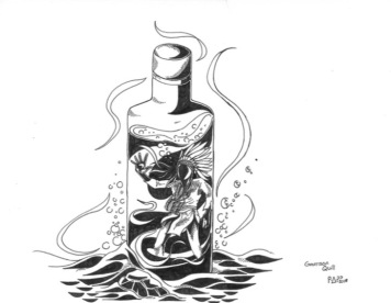 "My graphic design is called ""Time in a bottle"" because it shows the desperation and isolation of a person suffering from alcohol addiction. My design features a Native American Chief trapped and drowning in a bottle of whiskey. The bottle, alone at the bottom of the sea, represents the loneliness of a person, cold with no one around. What I chose for a topic was the heavy dependence on alcohol on some reservations. The constant substance abuse has destroyed the Indigenous ways of living in some of those communities. Saul struggles with alcohol and this is an issue that still affects Pikangikum as well – many people suffer from addictions. This issue grows stronger with each generation and not a lot has been done to fix this ongoing community problem. This image represents what I see in my community, where great people struggle to deal with a substance in a bottle. Succumbing to alcohol will ensure a path to self-destruction. Addiction is a social issue in many communities, Indigenous and non-Indigenous. Markham is no exception. Drugstores here have begun making naloxone kits available due to the increase in opioid use and accidental overdose. If you do a Google search looking for addiction services in Markham or York Region a number of results come up. The same services are not available in a number of First Nations communities, sometimes at all, or at least to the extent that they are available in off-reserve communities. A further inequity that exists and must be addressed is the lack of funding the Canadian government provides First Nations communities for the same mental health and addiction supports that are available in most non-Indigenous communities. First Nations communities had their land taken from them by settlers, the government those settlers formed here created reserves where they forced Indigenous people to settle, and then the government did nothing to support those communities. IN fact, they hoped that this would force Indigenous people to leave and assimilate. That legacy of colonialism is still experienced today. That's the truth, now where's the reconciliation?"